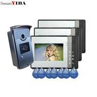 """7 """"Kabelgebundene Video-Türsprechanlage Visuelle Intercom-Türklingel mit 3 Monitor + 1 * 700TVL Outdoor-Kamera für die Hausüberwachung"""