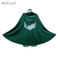 Attaque sur Titan Costume Vert Japonais Anime Cosplay Sharngeki No Kyojin Sweat à capuche Eren Levi Mikasa Cloak Scout Manteau Légion