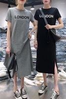 Oneimirry verão letra londres sólido simples mulheres vestido solto de manga curta médio comprimento casual vestidos vestidos mulher 20201