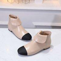 2020 الخريف / الشتاء نمط جديد المألوف الجانب سستة مطابقة اللون الصغيرة جلد الغنم قصيرة التمهيد جولة رئيس شقة أسفل أزياء المرأة الأحذية