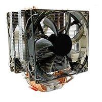 Laptop Soğutma Pedleri CPU Soğutucu 12 cm Fan 6 Bakır Heatpipes 3Pin Radyatör LA LED Ile Çift LG 1150/1151/11555.1556/1366/775/20111