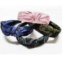 4 couleurs designeur de la mode Bandes à cheveux noués pour femmes pour femmes Girls de style coréen imprimé grand bord feuille hoop bande de cheveux accessoires de cheveux