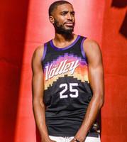 Hombres Devin Booker Mikal Bridges Deandre Ayton Negro Ciudad El Valle 2020 21 Jersey de baloncesto
