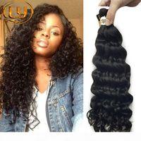 7A Brazilian Human Bulk Hair Deep Onda Curly 3 Bundles Soft Bulk Cabelo Brasileiro Profundamente Curly Bulk Hair Extensões Comprar 3Lot Get Free 1 PCs