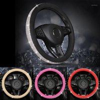 Luxo Diamond Crystal Strass Carro De Couro De Couro Cobre Capas Cap Auto Carro Acessórios Interior para Mulheres Meninas1