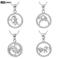 Кулон ожерелья 2021 Серебряное цветное ожерелье Созвездие Овен aries Taurus Gemini Racce Leo Virgo Libra Scorpio Pisces Choker Женщины Ювелирные Изделия