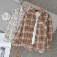 HAPEDY 2020 Sonbahar Kadın Gömlek Vintage Ekose Ceket Kalın Yün Coat Büyük Boy Gömlek Bayan Üst Artı boyutu Kış Giyim