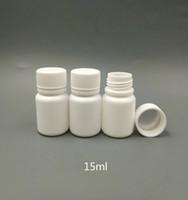 الشحن مجانا 100 قطع 15 ملليلتر 15 جرام 15cc hdpe البلاستيك الأبيض زجاجات حبة البلاستيك البلاستيك الدواء حبوب منع الحمل مع برغي كاب ختم