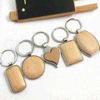 Creative DIY Porte en bois Porte-clés en métal ronde rectangulaire en forme de coeur blanc en bois clé Anneaux porte-clés Cadeaux Party Favor RRA3794