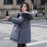 Kadın Aşağı Parkas Lüks Bayan Mont Kürk Hood ile Miegofce 2021 Kış Dış Giyim Rahat Sıcak Üst Markalar Ceketler Artı Boyutu Gri Uzun Loos