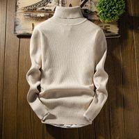 Мужские свитера Мужчины Зимние Туркалы Slim Fit Black Pullover Мужской Вертикальные полосы Сплошные Повседневные Пуловеры XXL