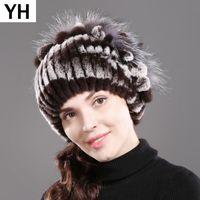 2020 Genuine Rex della pelliccia delle donne cappello di inverno Rex pelliccia Berretti cappello a strisce caldo elastica Knited reale Cap
