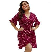 Повседневные платья короткие вспышки рукава высокая талия свободные плюс размер 3xL 4xL платье женщины Vestido летнее точка кружев сверху