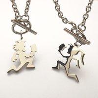 Ein Paar (1 stücke Mädchen + 1 STÜCKE Junge) Paar ICP Kleiner Spiegel Hatchetman Charms ICP Edelstahl Anhänger Halskette 3mm Link Kette 24 ''