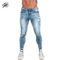 Gingto Skinny Jeans Erkekler Slim Fit Yırtık Erkek Kot Büyük ve Uzun Boylu Streç Mavi Erkek Kot Erkekler için Sıkıntılı Elastik Bel ZM63 201111