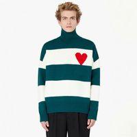 Venta caliente 21fw amor raya tortuga de tortuga suéter otoño invierno alto collar tejido jersey hombres mujeres High Street Moda suéter