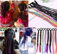 Accessoires de cheveux Mode Perruque colorée Bandes élastiques pour fille Fake Braid Twist Twist Caoutchouc Cadre de gomme Panneau Titulaire de queue