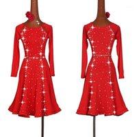 Abito da danza latino sexy sexy Dress da donna stile moda stile rosso Salsa Tango Abiti Lady Rumba Flamenco Concorso Concorso Costumes1