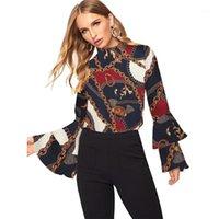 Kadınlar Moda Uzun Kollu Ofis Lady Şifon Bluz Gömlek Moda Zarif Zincir Baskı Tops Sonbahar Yeni 2019 Fırfır Kol Gömlek1