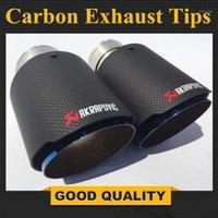 2 unids: entrada de 63 mm de entrada 89 mm de salida de acero inoxidable de acero inoxidable de acero inoxidable Akrapovic Fibra de carbono Escape Muffler Consejos para cualquier automóvil1