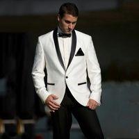 Ivory Groom Tuxedo Suits for Wedding Black Satin Shawl Lapel Man Blazer Groomsmen Outfit trajes de hombre Terno Masculino 2Piece