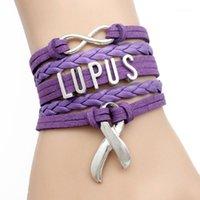 Charme Armbänder Infinity Love Lupus Krieger Epilepsie Krebs Bewusstseinsbänder Leder Wrap Männer Armreifen Für Frauen Schmuck1