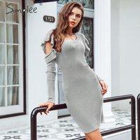 Повседневные платья Simple Sexy Bodycon Cold Three вязаное свитер платье женщины элегантные оборки вина с длинным рукавом старинные дамы зима