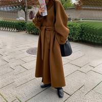 Le donne vintage inverno sovradimensionato lungo cappotto cappotto giacca singolo petto di lana soprabito di lana cappotto cardigan 201102