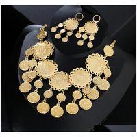 Neue exquisite Braut Hochzeit Schmuck Set Gold Farbe Muslimische Münze Halskette Ohrring Mittlerer Osten Arabische Schmuckgeschenk Yfks9