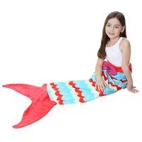 Denizkızı Ölçekli Battaniyeler Kuyruk Ile Uyku Battaniye Desen Dalga Çift Katmanlı Kadife Malzeme Çocuk Beach Havlu Moda 43TSH1
