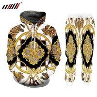 UJWI Luxury Golden Print 3D Vestes d'hiver pour hommes costume Sports Bouton T-shirt Pantalons 2 pièces Tenues Suivi des hommes / Femmes Set Y201128