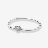 CZ diamant Pave amour mariage de coeur BRACELET femmes cadeau avec boîte pour 25 Sterling Silver Serpent Charms Chain Bracelets