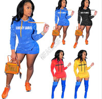 Femmes Robe Sweat à capuche Pulls lettres LABEL LUCKY Imprimer automne Robes Casual manches longues en plein air Robes Dans l'ensemble avec poches D102605