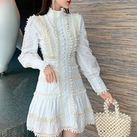 Yeni Moda Dantel Patchwork Ruffles Hollow Out Elbise Kadınlar Standı Yaka Fener Uzun Kollu Düğmeler Balo Kısa Elbiseler