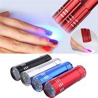 Secador del clavo Mini 9 luces LED linterna de la lámpara UV Gel de uñas portátil Máscara rápida herramienta de la manicura Secado