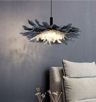 새로운 침실 LED 깃털 샹들리에 조명 북유럽 따뜻한 아트 어린이 펜던트 램프 크리 에이 티브 성격 연구 샹들리에 조명