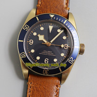 XF Top Version Бронзовый чехол Япония Miyota 9015 Автоматический синий циферблат 79250 Мужские часы античный кожаный ремешок спортивные часы 0003 0001 0004 0002