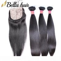 Пакеты человеческих волос с шелковым базовым кружевом закрытием 4x4 прямые бразильские малайзийские перуанские индийские девственные волосы уток волос 4 шт. Белла