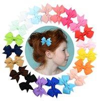 20colors Großhandel Kleine Bughaarnadel Grosgrain Band Bögen mit Clip Baby Kopfschmuck Kinder Mädchen Süßigkeiten Farbe Haarschmuck Schmuck Geschenk