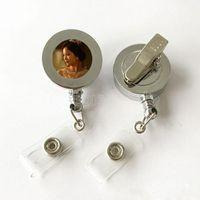 Сублимационные пустые выдвижное ремешок название теговой карты значок катушки держатель металлический клип горячая передача печать значки печать размер 20 мм DHL