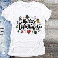 النساء السنة الجديدة هدية الملابس 90s الاتجاه مرح عيد الميلاد طباعة الملابس الجرافيك الإناث بلايز أعلى تي شيرت السيدات تي تي شيرت