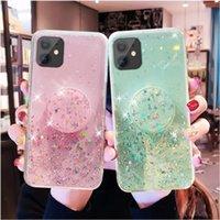 Glitter Bling Stand Holder Fundas para teléfono para iPhone 12 Pro Max 11 x XR XS 8 Galaxy S20 Nota 20 TPU suave