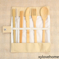 7pcs set Bamboo Portable Cutlery Set Outdoor Travel Flatware...