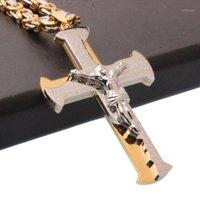 Kedjor Granny Chic Mens Chain Cross Pendant Byzantinsklänk Halsband Rostfritt stål Curb Cuban Silver Gold Tone 18-30Inch1