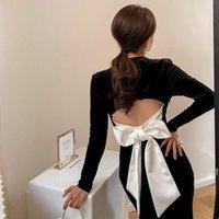Casual Dresses Schwarz Retro Langes Kleid Für Frauen Ankunft Hohe Qualität Party DressFemale Ärmel DRES Sexy Rückenbindeboden