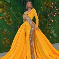 2020 Желтые вечерние платья русалки кружева блестенные прозрачные длинные официальные платья выпускного вечера