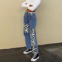 Женщины Элегантная высокая талия Пэчворк Джинсовые брюки Дамы Свободные прямые джинсы Женские Зебра Узор Широкие брюки