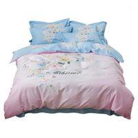 Blu e rosa Flower Daisy Biancheria da letto Set Queen King Size 100% Tessuto in cotone Stampa Piumino Cover Duvet Lenzuola Lenzuola Fedele1