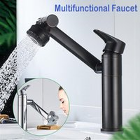 Silver Black Water Robinet en laiton 360 rotatif simple trou multifonctionnel robinet d'eau chaude et froidure