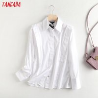 Tangada women high quality white cotton shirts long sleeve solid elegant office ladies pleated work wear blouses 6D65